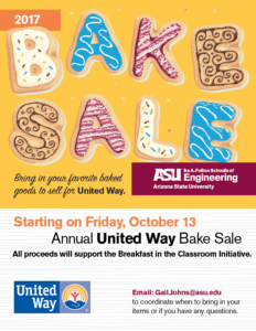 United Way Bake Sale 2017 flier