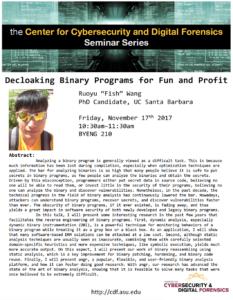 Ruoyu Wang seminar flier