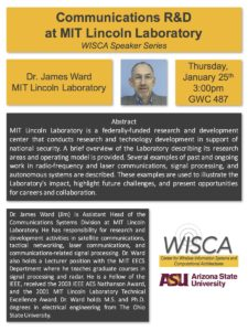 Communications R&D at MIT Lincoln Laboratory, January 25 seminar flier