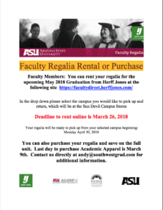 Faculty: Purchase or rent your graduation regalia |