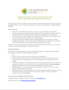 Biomimicry Center Seed Grant flier