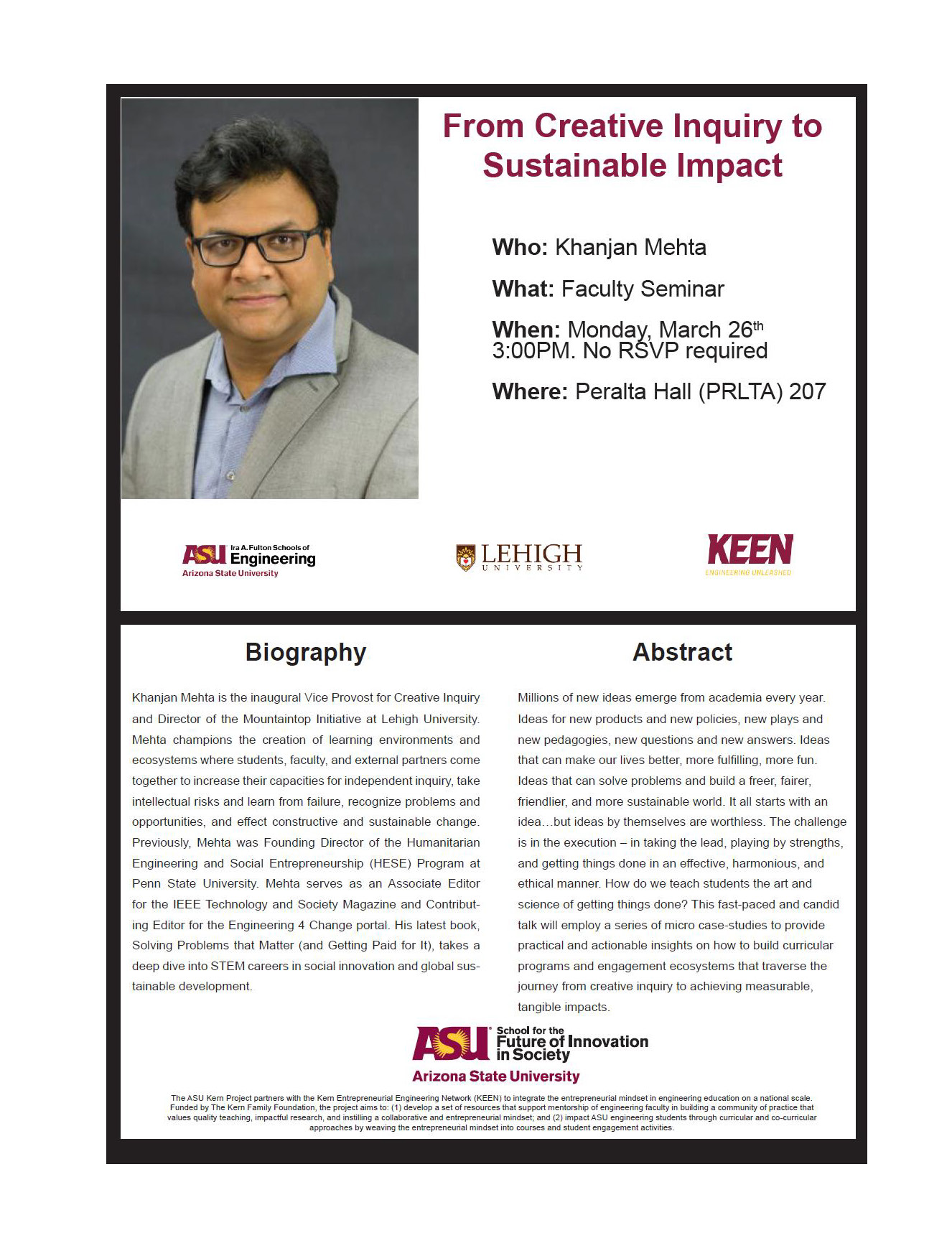 "Flier for the ""From Creative Inquiry to Sustainable Impact event with Khanjan Mehta"