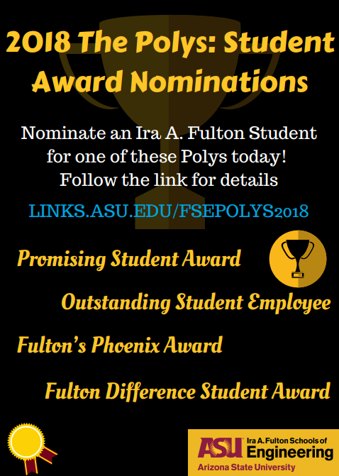Flier for the 2018 The Polys Student Award Nominations
