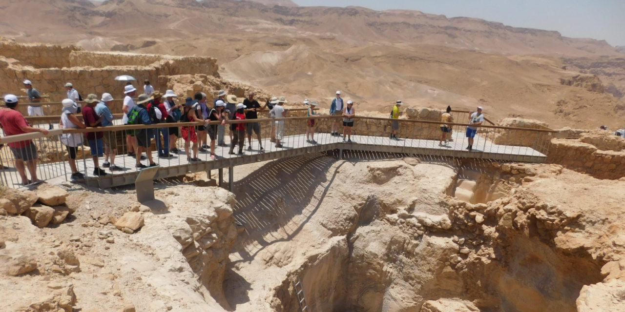 People tour Masada in Israel.