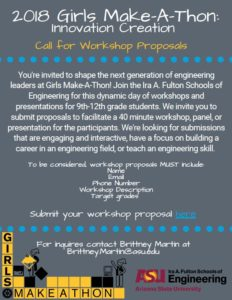 2018 Girls Make-A-Thon call for workshop proposals flier.
