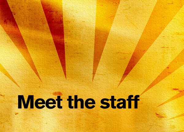 "Gold sunburst graphic with the text ""Meet the staff"""