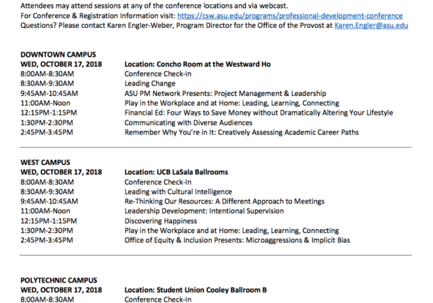 register for the asu csw sc professional development conference