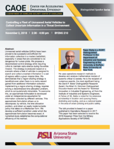 CAOE Seminar Series: Unmanned Aerial Vehicles in a Threat Environment