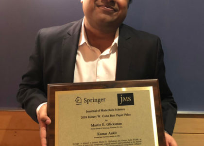 Kumar Ankit received the Cahn Prize at the 2018 MRS Fall Meeting and Exhibit.