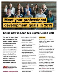Lean Six Sigma Green Belt flier