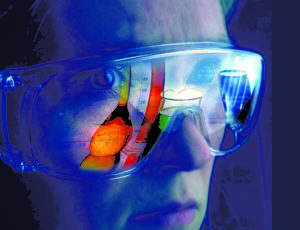 Lady wearing Imacon Color Scanner goggles