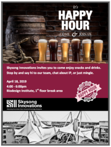 Skysong Innovations Biodesign Happy Hour flier