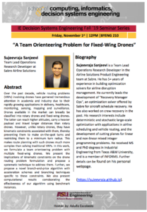 IE Decision Systems Engineering Fall '19 Seminar Series: A Team Orienteering Problem for Fixed-Wing Drones