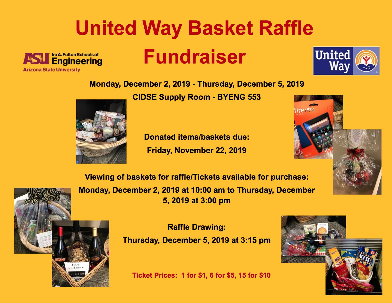 United Way Basket Raffle Fundraiser flyer