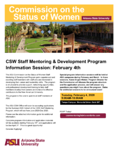 CSE Staff Mentoring and Development Program info session February 2020