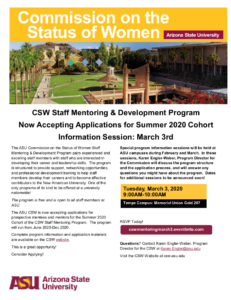 CSW Staff Mentoring and Development Program Summer 2020