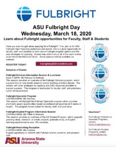 ASU Fulbright Day 2020 flyer