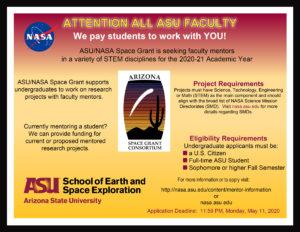 ASU/NASA Space Grant mentors 2020-2021