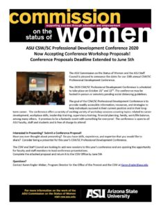 ASU CSW/SC Professional Development Conference 2020 workshop proposal deadline extended