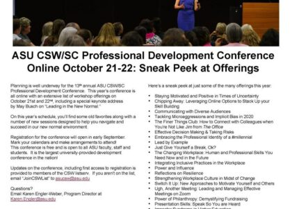 2020 ASU CSW/SC Professional Development Conference sneak peek
