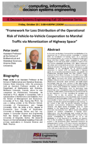 Framework for Loss Distribution of the Operational Risk of Vehicle-to-Vehicle Cooperation to Marshal Traffic via Monetization of Highway Space