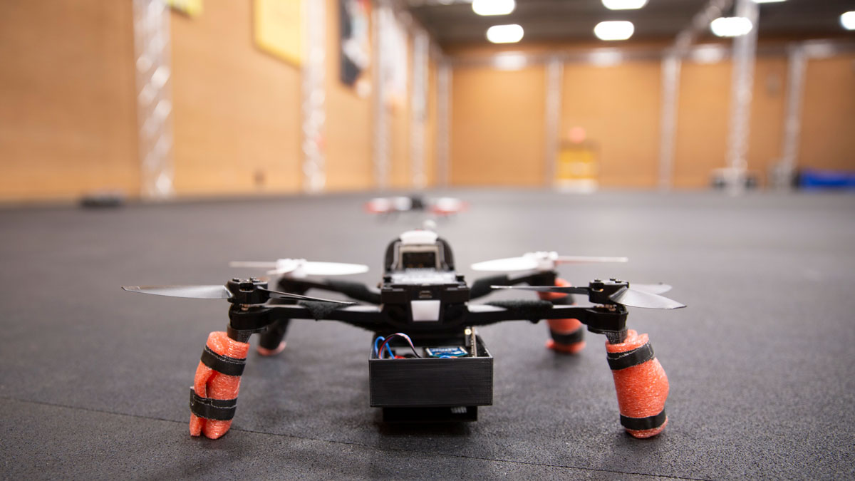 A flying drone in the ASU Drone Studio