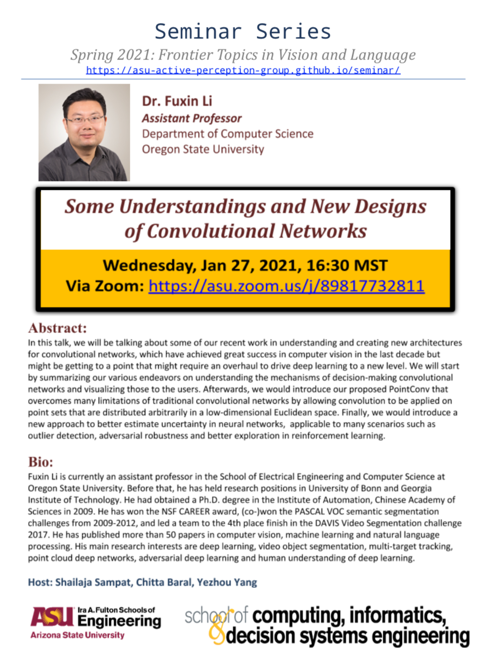 Fuxin Li, Some Understandings and New Designs of Convolutional Networks, January 27, 2021