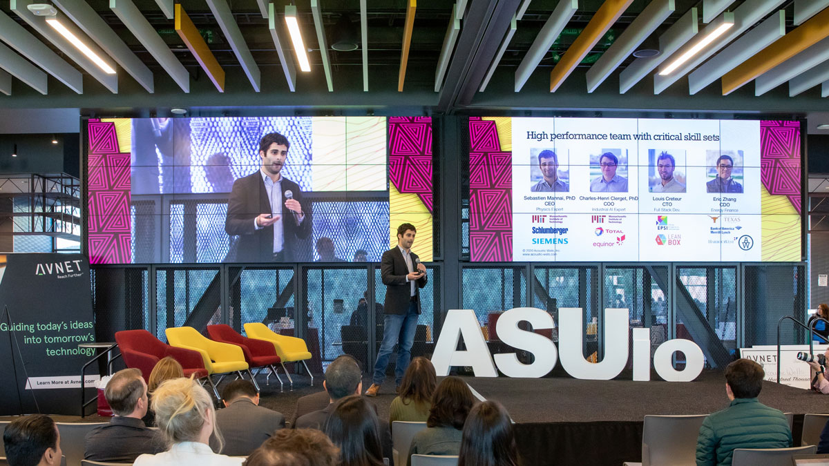 A student venture pitches at the February 2020 ASU Innovation Open.