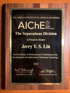 Jerry Lin's AIChE award for lifetime achievements.
