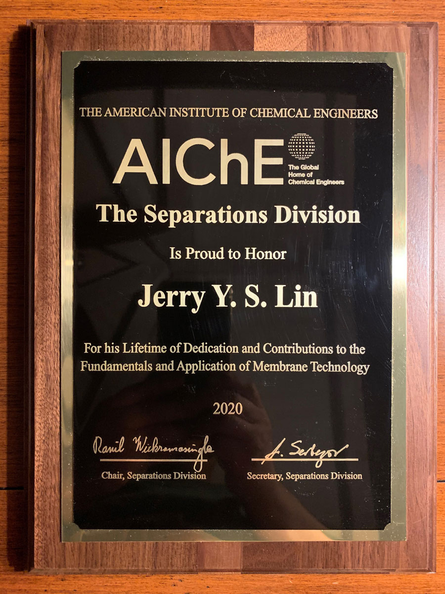 Jerry Lin's AIChE award for lifetime achievements.