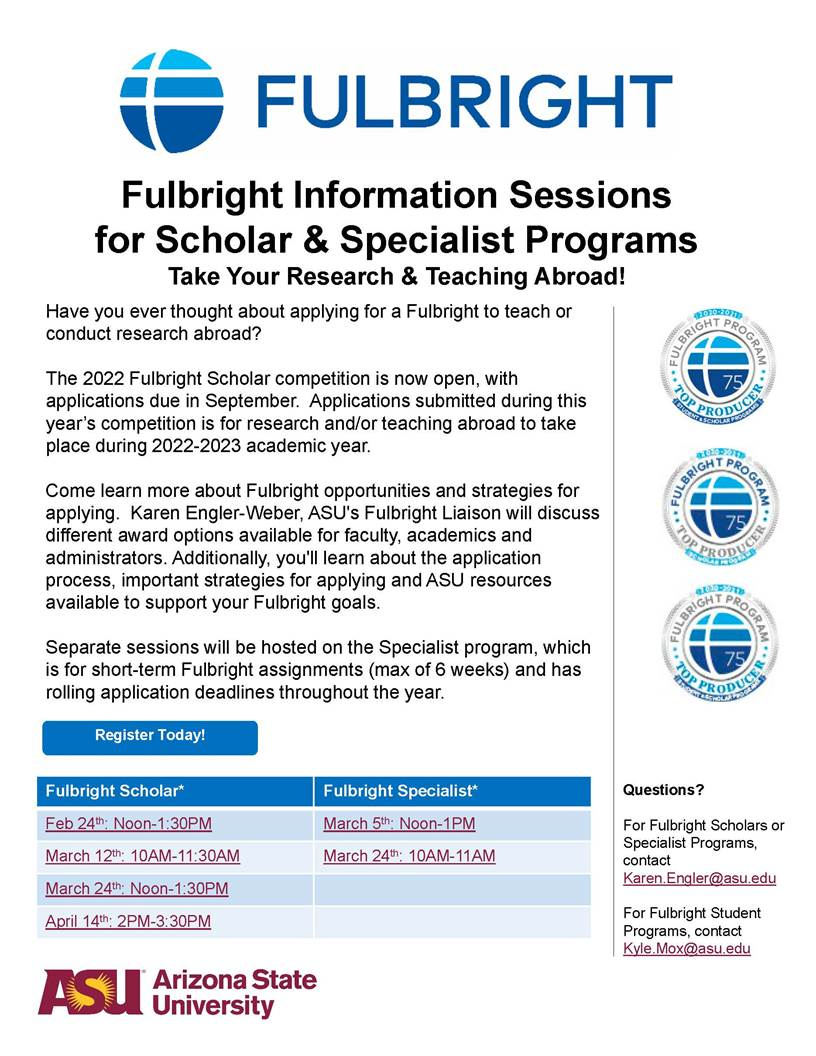 Fulbright 2021 information sessions.
