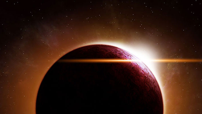 An illustration depicting sun gleaming off of another planet.