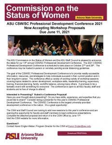 2021 ASU CSW/SC Professional Development Conference workshop proposals