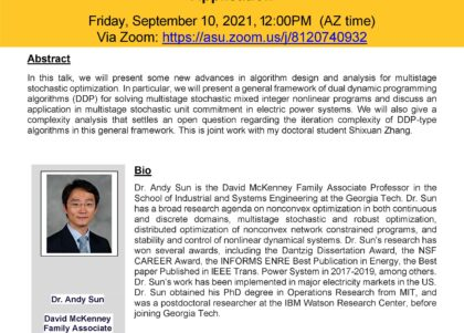 IEE Decision Systems Engineering Fall 21 Seminar Series: Dual Dynamic Programming Algorithms for Multistage Stochastic Optimization: Complexity Analysis and Application, presented by Andy Sun, September 10, 2021