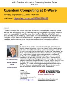 Quantum computing at D-Wave seminar