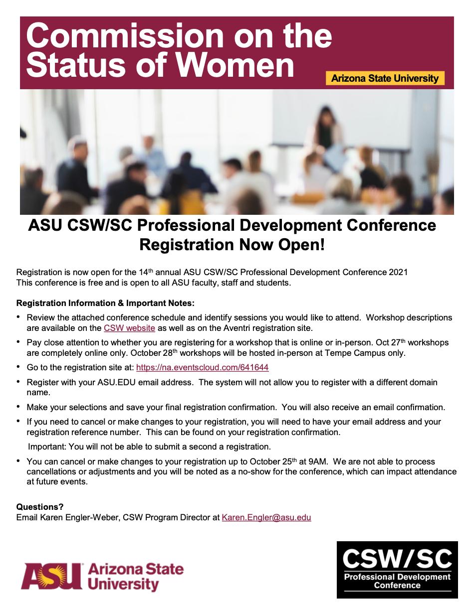 2021 ASU CSW/SC Professional Development Conference 2021