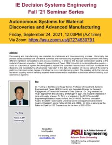 Seminar: Autonomous Systems for Material Discoveries and Advanced Manufacturing, September 24