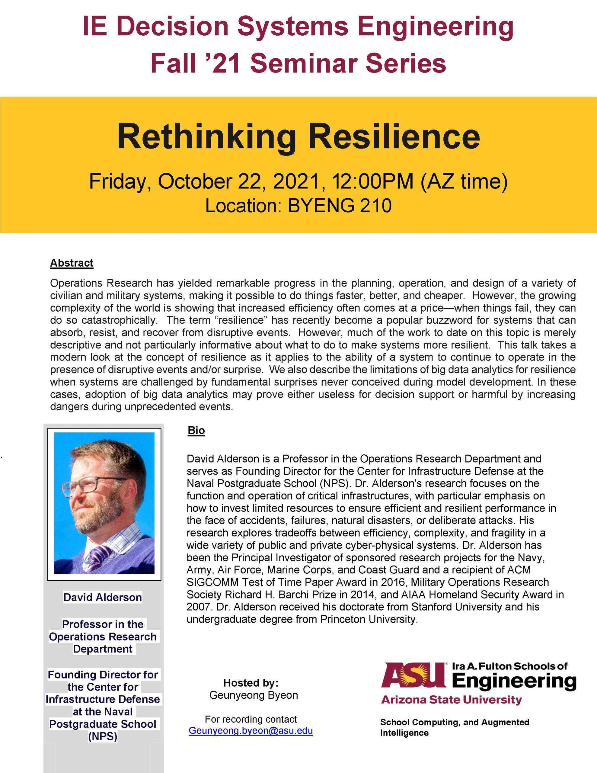 Rethinking Resilience, October 22, 2021